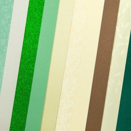 Disainpaber A4/210-250g 10L mix green
