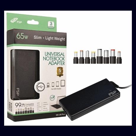 Sülearvuti laadija 65W Fortron Slim +USB