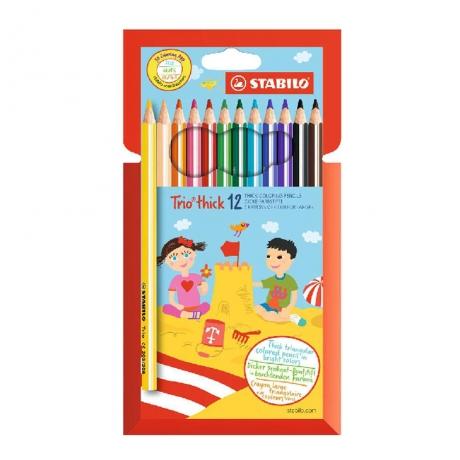 Värvipliiatsid Stabilo 12 värvi jäme Tri