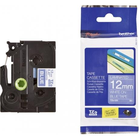 Lint Brother TZE535 valge sinisel 12mm