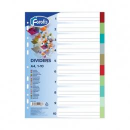 Vahelehed A4 1-10 värvilised, 0,13mm