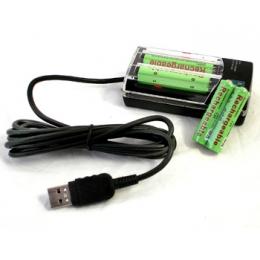 Akulaadija USB-st + 2xAA ja 2xAAA akut