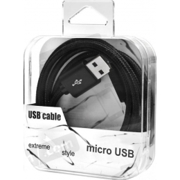 Kaabel microUSB-USB Braided Strong Black
