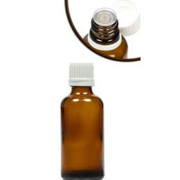 Pudel klaas 50ml tilgutist korgiga pruun